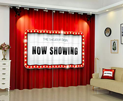 Hollywood Curtains,Soundproof Blackout Curtains for Bedroom Living Room Window Drapes 2 Panel Set,Theater Sign Curtain Spotlight Passionate Stage,52Wx63L Inches
