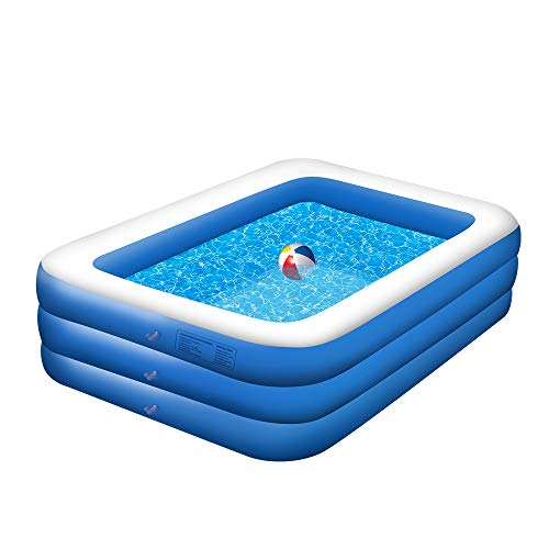 POHOVE Aufblasbarer Pool, Familienpool für Kinder Und Erwachsene Aufblasbare Schwimmbäder für Innen, Hinterhof, Garten, Outdoor, Wasserpartys Pool Rechteckig (210 x 150 x 60 cm)