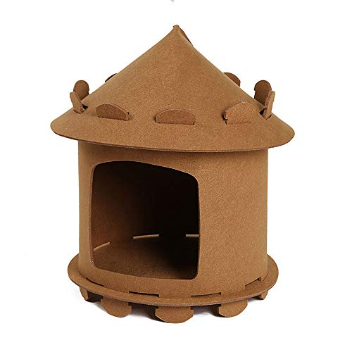 Cute Soft Pet Cave, Cat House Cave Comfortable Bed Cat Small Dog Cosy Bed Creative Yurt Cat Nest Pet Bed Tent Shape Dog Kennel Cat Delivery Room for Small Cats And Dogs 46 * 46 * 45Cm,Brown