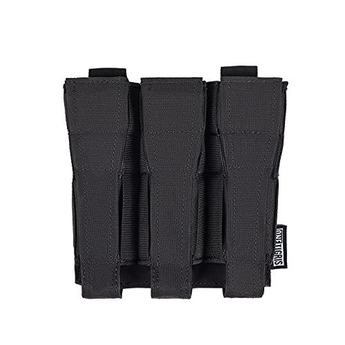 OneTigris マガジンポーチ 3連オープントップ マグポーチ 片手でマガジンチェンジ MP5などの9mmマガジンに適用 サバゲー用マグホルダー (ブラック)