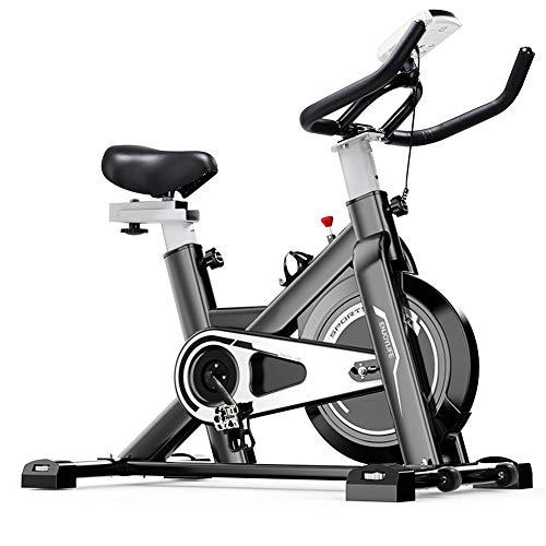 Tribesigns - Bicicleta estática de fitness para gimnasio doméstico con medidor de frecuencia cardíaca y pantalla LCD, bicicleta de spinning supersilenciosa