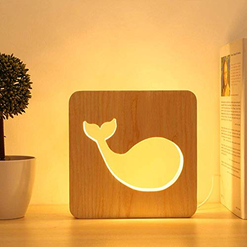 DEJ Led bureaulamp, Led nachtlampje met Hollowed-Out walvis ontworpen lamp Body voor het bed, decoratie, geschenk, Valentine