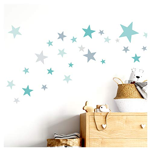 Little Deco Wandtattoo 60 Sterne Kinderzimmer Mädchen Junge Stars I türkis Mint grau I viele Farben Wandaufkleber Wandsticker Set bunt selbstklebend DL409