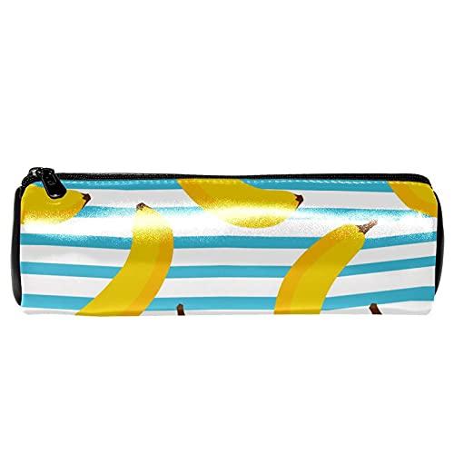 EZIOLY Estuche para lápices de piel con diseño de banana, color azul y blanco, con diseño de rayas, para estudiantes, papelería, escuela, trabajo, oficina, almacenamiento