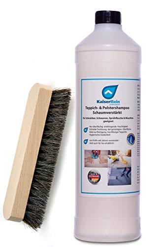 KaiserRein 1 L Teppichreiniger mit Holzbürste I Polsterreiniger für Auto, Teppich und Polster I Textilreiniger Konzentrat Teppiche Autositze I Waschsauger geeignet