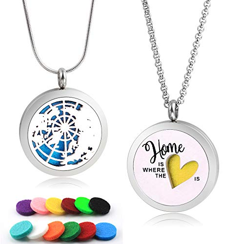 Two Design Essential Oil Diffuser Necklaces Pendant Aromatherapy Jewelry for Women and Girls(Globe & Home Design) with 2 Styles Chains & 12 Felt Pads