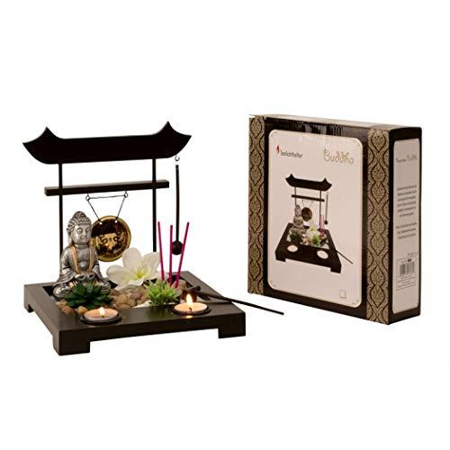 Ducomi Jardín Zen de mesa con bandeja, arena, figura de Buda, roca – Kit de meditación japonesa – Accesorios para el hogar decoración interior Idea regalo (Yugen)