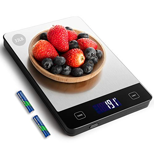 Amiloe 33lb Kitchen Scale with 6 Units Food Scale Digital Weight Grams and Oz 1g/01oz Precise Graduation for Cooking Baking Stainless Steel and Tempered Glass 2 AAA Batteries Include