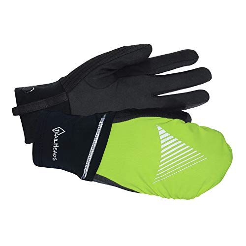 TrailHeads Men's Convertible Running Gloves - black/hi-vis (medium/large)