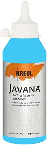 Kreul 91342 Javana Stoffmalfarbe für helle Stoffe, geschmeidige Farbe auf Wasserbasis mit cremigem Charakter, 250 ml Flasche, hellblau