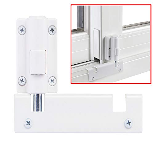 Patio Sliding Door Security Foot Lock Kick Lock , Fits on Top Rail-Childproof Patio Door Guardian-or Bottom Rail-Foot Operated-Keep Your Family Safe and Secure(1 Pack,White)