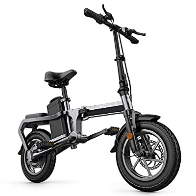 ENGWE X5 Electric Bike Foldable Gear Assisted Electric Bicycle 350W Multipurpose 14'' Electric Bicycle with Removable10Ah Battery Professional Aluminum Alloy Material Electric Bike Black…