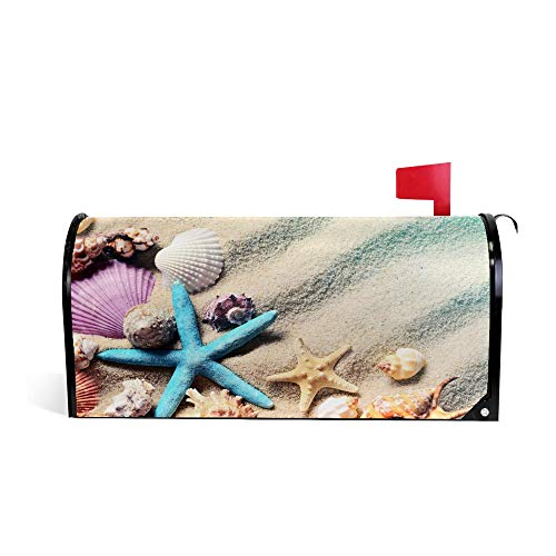 LifeCustomize Summer Mailbox Covers Magnetic, Beach Seashell Post Letter Box Wraps Cover Standard Size 20.7x18 inch for Outdoor Garden Decor