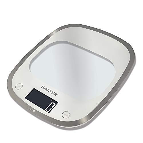 Salter 1050 WHDR/BKDR/RDDR Bßscula de Cocina Digital, lÝnea Curve Glass, Aquatronic, 5 Kg, White, Blanco, 23.5 X 21 X 3 Cm