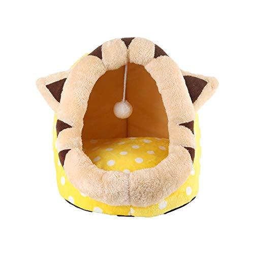 BYJHMB Hundekissen Haustier Zwinger Katze Zwinger Hund Matratze kleine abnehmbare und waschbare Teddy Nest Sommer Schlafsack-Yellow Dot Katze Jiji_S Katzenbett