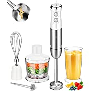 Immersion Blender Blusmart Hand Blender Handheld 5-in-1 Multi-Purpose 800W Powerful 13-Speed Stick Blender Stainless Steel with 500ml Chopper, 600ml Container, Whisk and Milk Frother