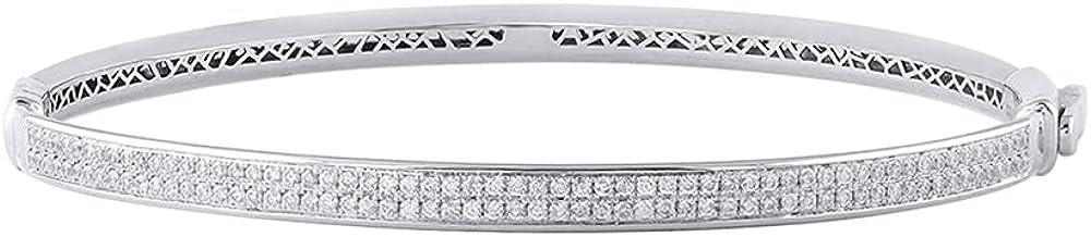 3/4 Carat Two Row Diamond Bangle Bracelet in 14K Gold
