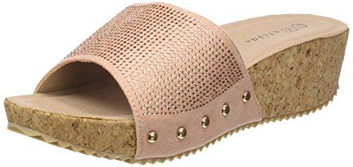 Angkorly - Chaussure Mode Mule Sandale Plateforme Femme Strass Diamant clouté liège Talon Plateforme 5 CM - Rose - PN1550 T 38