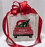 Strong689 Merry Christmas Truck Decal Sticker 8' Glass Block or Framed