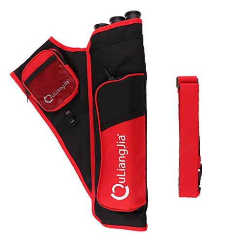 Tiro con Arco Deportes 3tubos–Aljaba para tiro, Exterior magideal Köcher Funda con correa de hombro ajustable, rojo