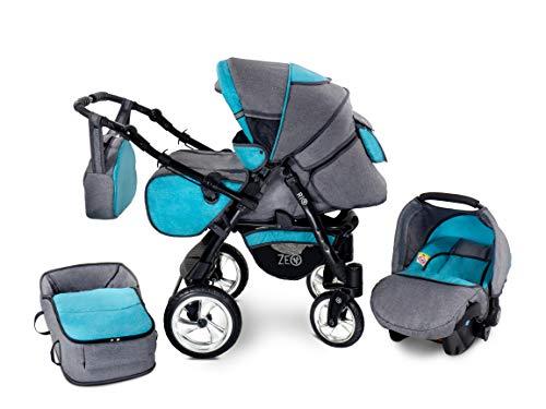 Zeo Rio Kinderwagen Kombikinderwagen Babywagen 3in1 mit Zubehör 0-3 Jahre 0-15 kg All in One (R1)