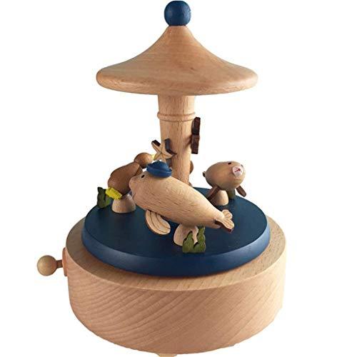 SHYPT Castillo de la Caja de música de cumpleaños Regalo de la decoración de Madera de Juguete for los niños Tamaño: 11X11X16.5CM
