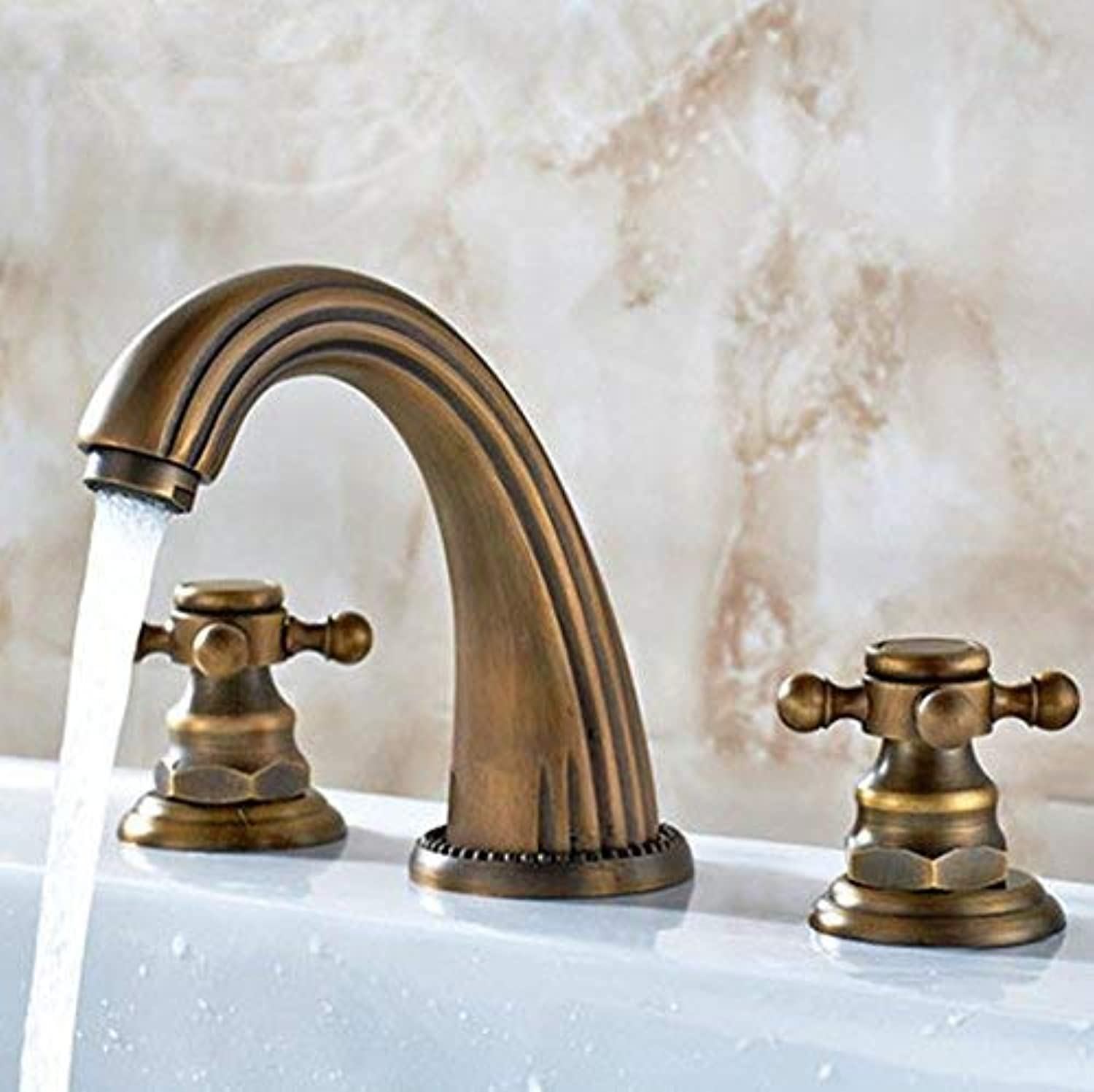 Oudan Basin Mixer Tap Bathroom Sink Faucet European style bathroom antique copper basin three-piece faucet 3-hole wash basin splitter, hot and cold water faucets Mixer Taps