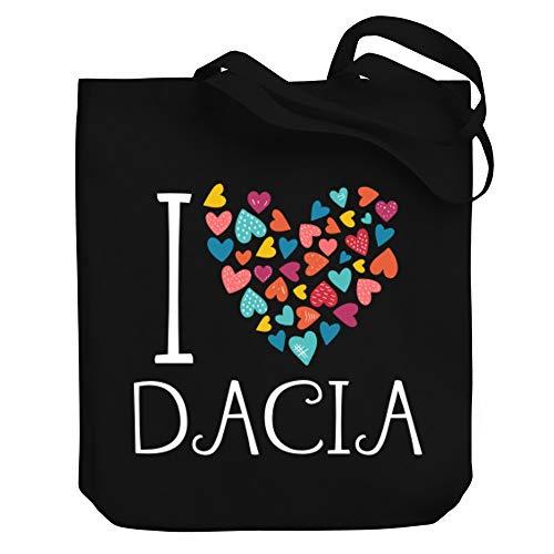 "Teeburon I Love Dacia Colorful Hearts Bolsa de Lona 10.5"" x 16"" x 4"""