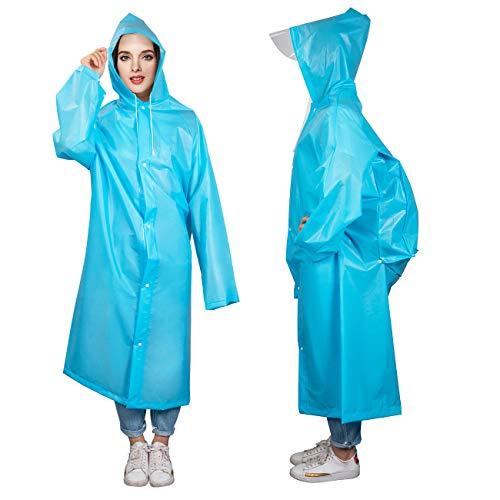 Denavo Draagbare Volwassen Doorschijnende Hooded Regen/Regenjas Poncho met Mouwen - Twee Kleuren 3 Size – Houd De Regen/Sneeuw/Water Uit Je Kleren, Voor Camping/Reizen/Bergbeklimmen