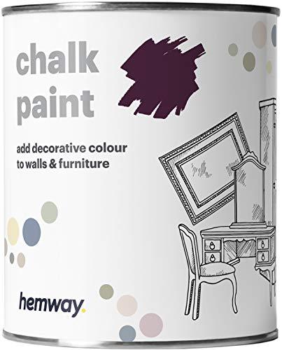Hemway - Kreidefarbe für Möbel & Wände - matt - renoviert - 1 Liter - Aubergine