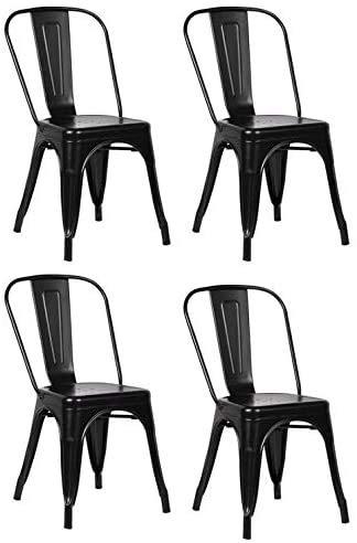 Gbrand Sillas de Comedor de Metal Juego de 4 sillas de Patio Silla Industrial Moderna de Acero para Cocina y Comedor Silla de Cocina Tolix Silla apilable de Metal Sillas de Interior y Exterior Negro
