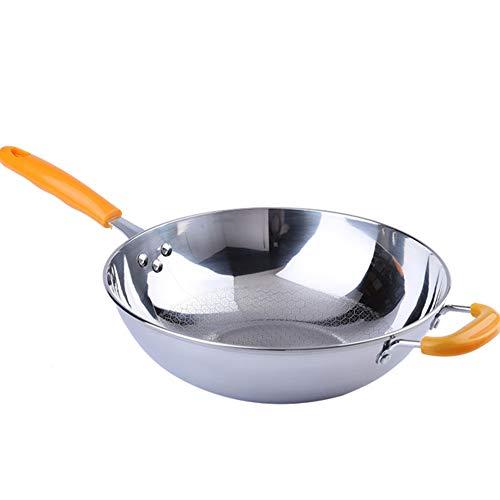 ROYWY Sartén,Wok,cazuelas,la sartén y la olla están hechos de acero inoxidable, adecuados para varias fuentes de calor, incluida la cocina de inducción, fácil de limpiar. Batería de Cocina /