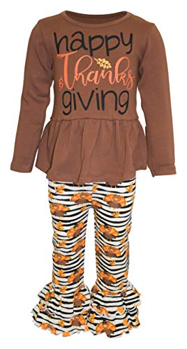 Unique Baby Girls Happy Thanksgiving 2pc Ruffle Pants Set (4t, Striped Turkey)