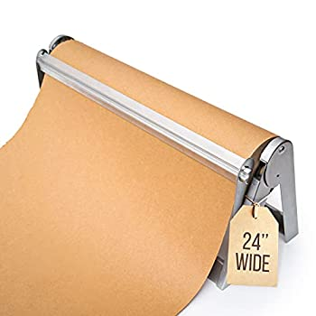 Wrapping Paper Roll Cutter - Holder & Dispenser for Butcher Freezer Craft Paper Rolls 24  - Non-Slip Cutting Tool with Serrated Blade for Gift Wrap - Wall Mount or Tabletop
