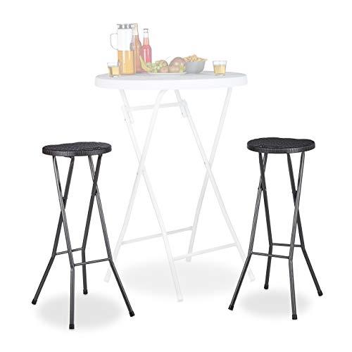 Relaxdays Bastian - Taburetes de bar plegables, Impermeable, Plástico, 80 cm de Altura, 2 unidades