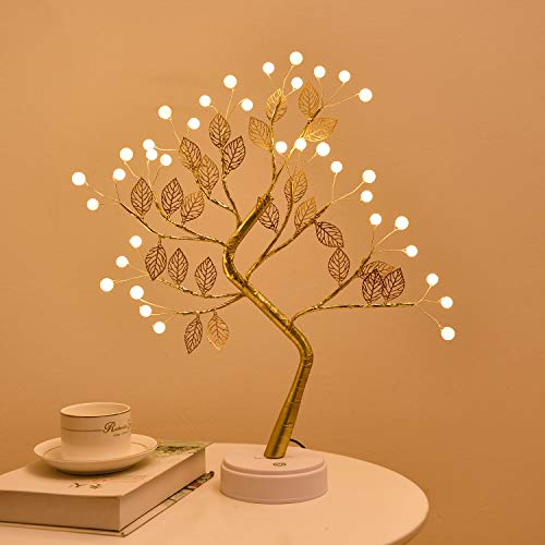 Firefly Bonsai Tree Light - 36 LED Pearl Gold Leaf Fairy Light Spirit Tree Lamp - USB/Battery Touch Switch, Deco of Children's Room, Bedroom, Living Room, Party Wedding and Valentine's Day
