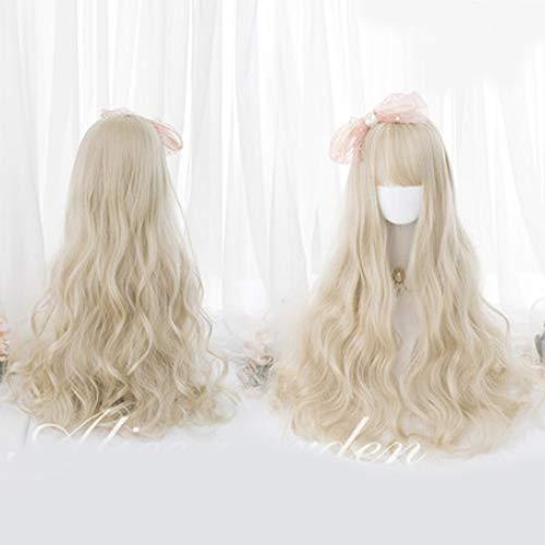 Perruque Femmes Lolita 60CM longue perruque blonde Bangs mignonne de partie synthétique Lady cosplay perruque de cheveux fille cadeau Postiches