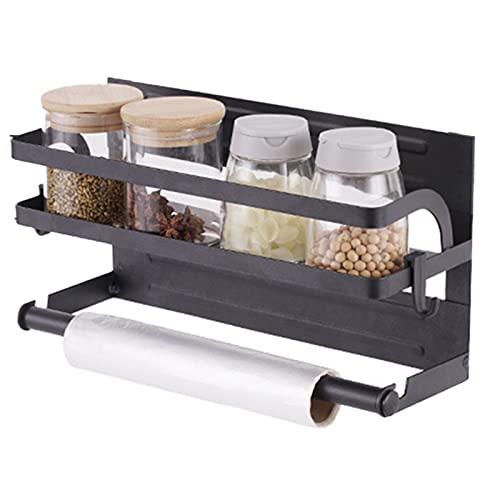 woyada Estante magnético para especias para refrigerador, estante lateral de almacenamiento, soporte para toallas de papel para cocina y baño