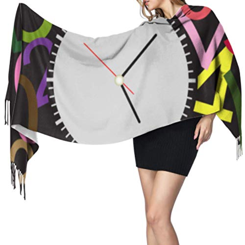 ALALAL Colorido Reloj de pared de dibujos animados lindo Life Bufandas grandes para mujeres Bufanda barata Chales Wrap 77x27inch / 196x68cm Large Soft Pashmina Extra Warm