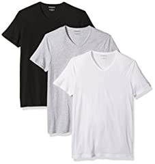 Men's 100 percent cotton 3 pack v neck t shirts Small tonal eagle logo on left side of chest