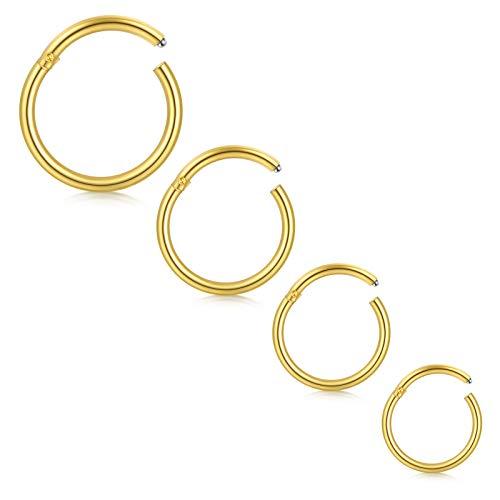 Longita 4 Piezas 18G Acero Inoxidable Hinged Clicker Segment Piercing Septum Labio Nariz Aros para...