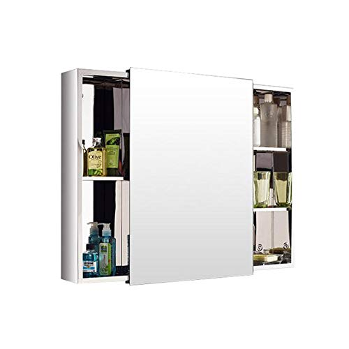 Thicken Wall-Mounted Stainless Steel Mirror Cabinet,Multipurpose Storage Organizer Medicine Cabinet with Sliding Door 31.49X23.62X5.11inch