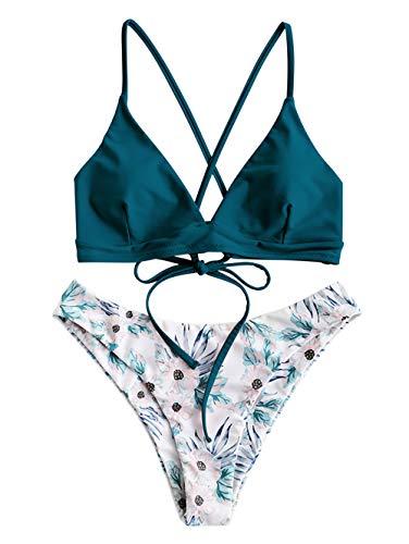 ZAFUL Damen Push Up Sommer Bikini Set Beachwear Blau L