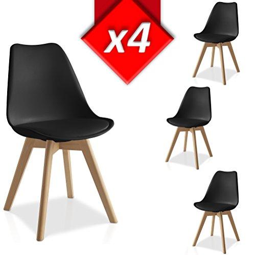 VS Venta-stock Pack 4 sillas Lucia Negro, Pata Madera y Asiento Acolchado, Estilo nórdico