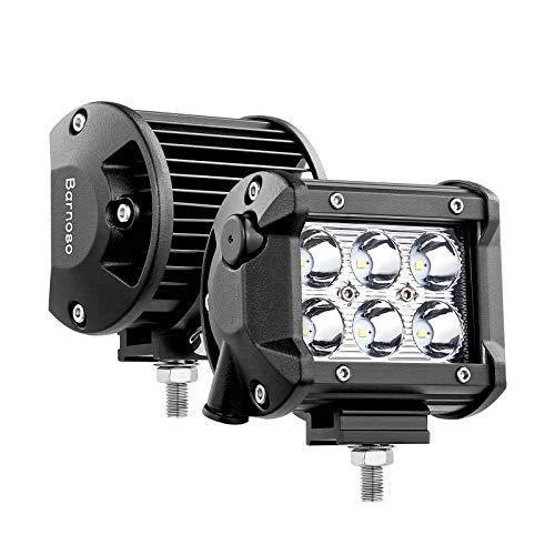 Led Pods, 4 Inch Led Bar Lights 2pcs 18W 6000K with Breather Light Bar Led Spot Fog Lights for Trucks SUV ATV UTV