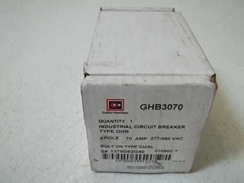 EATON CUTLER HAMMER GHB3070 CIRCUIT BREAKER, THERMAL MAGNETIC, 3P, 70A