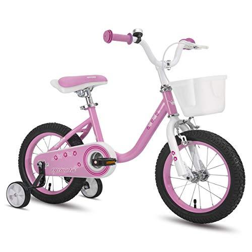 CYCMOTO Flower 14' Kids Bike with Basket, Hand Brake & Training Wheels for 3 4 5 Years Girls, Toddler Bicycle Pink