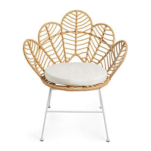 Beautify Hand Woven Rattan Petal Chair, Rattan Flower Chair, Indoor & Outdoor, Natural