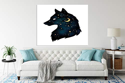 5D Diamond Painting,Diamond Painting Kits for Adults Silhouette of Wolf Crescent Moon and Stars Isolated Or Tatt Suitable as Gifts Gem Art Drill and Dot,Toys,Home Games,Home Wall Decoration,14'x20'