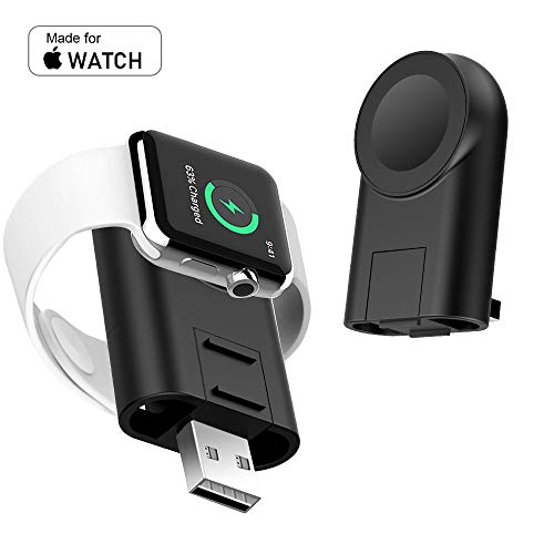 Portable Charger for Apple Watch Adjustable Magnetic Charger iWatch Travel Cordless Car Black Charge Compatible for Apple Watch Series 5 4 3 2 1